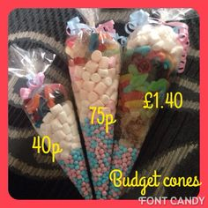 Budget sweet cones filled with any sweets you require, wedding favours,baby shower favours