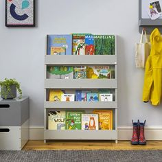 Childrens Bookcase Grey Wood Kids Book Storage Unit by Tidy Wall Bookshelves Kids, Bed Shelves, Bookshelf Design, Bookshelf Ideas, Kura, Tidy Books, Childrens Book Shelves, Reading Nook Kids, Bookshelf Organization