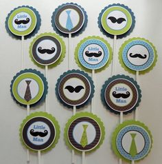 Cupcake Toppers: Little Man Mustaches and Ties in Blue Green & Brown - Boy Baby Shower or Kids Birthday Party Decorations. $12.00, via Etsy.