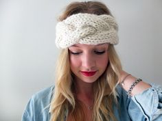 Simcoe Braided Headband, pattern by Good Night, Day.  Alpaca wool from Americo. #knitting #DIY #knitwear