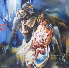 Shiva, Shakti and the Little One Shiva Parvati Images, Shiva Shakti, Shiva Linga, Shiva Art, Hindu Art, Om Namah Shivaya, Indian Gods, Indian Art, Lord Shiva Sketch