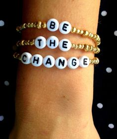 BE THE CHANGE Gold Bead Personalized Alphabet Bracelet Stack - #bethechange #kaizenfashion #shop