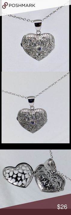 """My Heart Keeps Locket Sterling Silver Filigree Heart Locket/ Keepsake Guard Sterling Silver Small  Heart with CZ Filigree Accent  Opens and closes   Stamped silver 925 Roll Chain 18"""" length included Jewelry Necklaces"""