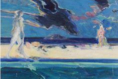 """""""Bathers and Island"""" by John Houston (UK 1930-2008)"""