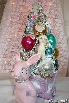 Shabby Cottage Chic Vintage Easter Bottle Brush Tree Vintage Ornaments Bunny | eBay