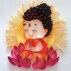 Paper Quilling Designs, Quilling Paper Craft, Quilling Patterns, Baby Buddha, Little Buddha, Osho, Arte Ganesha, Small Buddha Statue, Buddha Painting