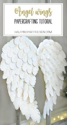 Diy Angel Wings, Angel Wings Wall Decor, Diy Wings, Feather Angel Wings, Diy Angels, Angel Crafts, Paper Crafts, Diy Crafts, Cricut Explore Air