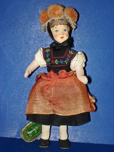 Erna Meyer Liliput Dollhouse Doll in Regional Costume with Hang Tag from romancingthedoll on Ruby Lane