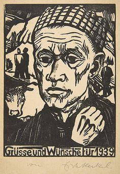 Erich Heckel (German,1883–1970).  Jahresblatt: Sinnender, 1938, Woodcut
