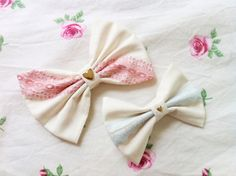 Floral Cream Bow with Pink Lace Available in Large ($10) & Floral Cream Bow with Baby Blue Lace Available in Medium ($7.50) and Large ($10)