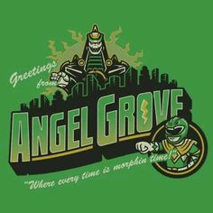 Pop-Up Tee: Greetings from Angel Grove Power Rangers Series, Power Rangers Movie, Go Go Power Rangers, Powe Rangers, Tommy Oliver, Day Of The Shirt, Dc Comics Heroes, Green Ranger, Nerd Art