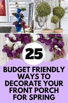 Decorate your outdoor space on a budget with these Spring DIY ideas. Wondering how to decorate your front porch for cheap? we love these quick DIY spring decorations. Plastic Flowers, Faux Flowers, Silk Flowers, Spring Door, Spring Sign, Porch Wall, Front Porch, Topsy Turvy Planter, Diy Easter Decorations