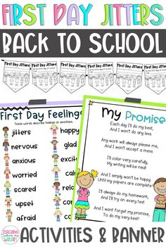 This First Day Jitters book companion bundle includes two best-selling resources for Back to School. The First Day Jitters Back to School activities and banner are the perfect way to kick off the new school year. Now with printable and digital versions, these resources can be used for #DistanceLearning. #FirstDayJitters #BacktoSchoolActivities #BulletinBoardIdeas Back To School Night, The New School, New School Year, First Day Of School, Back To School Activities, School Resources, First Grade Jitters, Schools First, Book Study