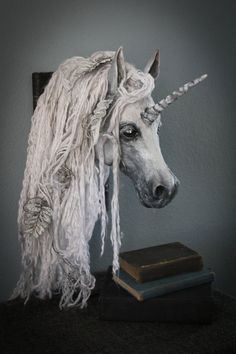 Paper mache White Unicorn Mount, Magical, Mystical, handcrafted, make, diy, paper, gift, Pegasus, fantasy, legend, horses, mount,  taxidermy, faux, wall art, wall decor,