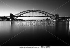 Sydney Harbour Bridge at first light - monochrome.