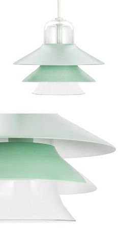 With layers of glass and steel shades, this pendant lamp turns chic design into a handy feature. The bottom tier is made of frosted glass for excellent light distribution, while the mint-toned steel up...  Find the Seaglass Tiered Pendant Lamp, as seen in the The Fantastic '50s Collection at http://dotandbo.com/collections/the-fantastic-50s?utm_source=pinterest&utm_medium=organic&db_sku=NMC0011