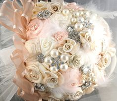 Brooch Bouquet VintageStyle Jeweled Bouquet in Blush by SolBijou, $350.00