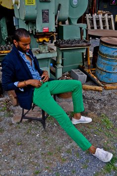 Gang Green Chino navy blazer blue denim shirt sitting