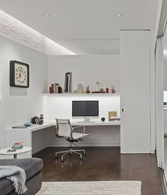 A RENOVATED LOFT IN SOHO In The Office, Linear LED Fixtures Housed Within  Ceiling Coves