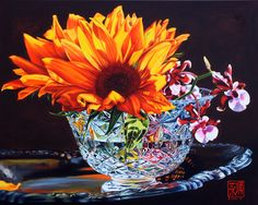 """Sunflowers and Orchid oil  24"""" x 30""""    - Soon Warren"""