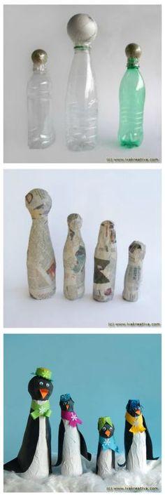 Diy Projects Paper Papier Mache 33 Ideas For 2019 Plastic Bottle Crafts, Recycle Plastic Bottles, Recycled Bottles, Recycled Art, Diy Paper, Paper Art, Paper Mache Sculpture, Sculpture Ideas, Paper Mache Crafts