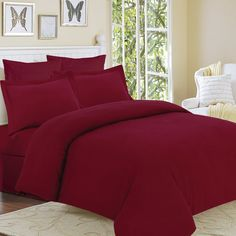 Update your bedroom with this cozy solid flannel duvet cover set. Made of brushed cotton, the set includes one oversized king duvet cover and tw. Flannel Duvet Cover, Red Duvet Cover, Duvet Cover Sets, Best Bedding Sets, Duvet Sets, Clarks, Pottery Barn, Ikea, Shabby