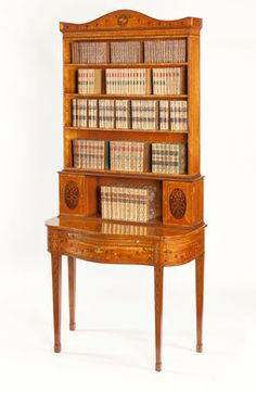 English 18th Century Fine and Rare George III Satinwood & Marquetry Bonheur du Jour
