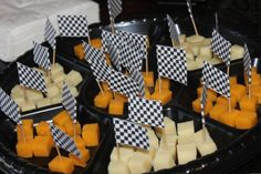 Checkered Flag Cheese Appetizers Cheese Appetizers, Checkered Flag, Race Cars, Birthday Parties, Party, Kids, Inspiration, Ram Cars, Birthday Celebrations