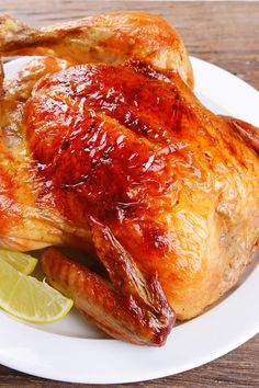 Recipe including course(s): Entrée; and ingredients: balsamic vinegar, chicken broth, garlic, honey, lemon juice, olive oil, sesame oil, soy sauce, whole chicken, Worcestershire sauce