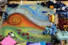 140107 In progress of adding blues to our hooked rug