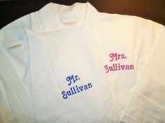 3e0298a47a 2 Personalized Robes Custom Couples Spa Gift Mr and Mrs Gift Bridal Shower  Gift Cotton Monogrammed