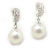 12mm White South Sea Pearl and Diamond Earrings in 18k White Gold