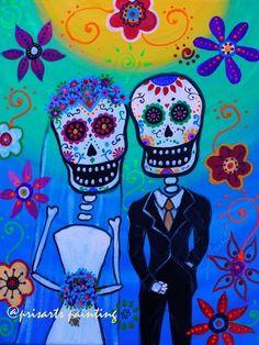 Mexican Dia de los Muertos Wedding Original Couple Painting Art Flowers PRISARTS…