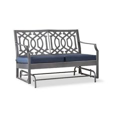Patio Bench: Harper Metal Motion Patio Garden Bench: Navy: Threshold ($240) ❤ liked on Polyvore featuring home, outdoors, patio furniture, outdoor benches, navy, outdoor patio benches, patio bench, garden furniture and metal garden furniture