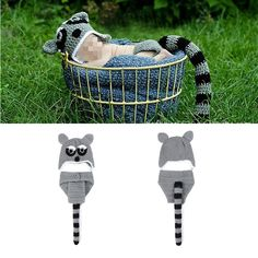 Newborn Baby Crochet Knit Beanie Hat Gray Squirrel Photography Props Costume Set #Handmade