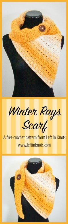 This modern, easy, and free crochet pattern will warm up your winter with bright sunny colors! This triangle scarf is the sixth free pattern in Seven Days of Scarfie :) This project uses just less that one skein of Lion Brand Scarfie yarn!
