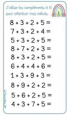 Effectuer des grandes opérations à l-aide des compléments à 10 Math Addition Worksheets, First Grade Math Worksheets, Printable Math Worksheets, Math Gs, Math School, Math For Kids, Teaching Math, Teaching Geography, Math Lessons