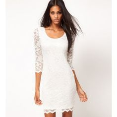Cute Clothes Stores For Teens Cheap Round Neck White Lace Dress