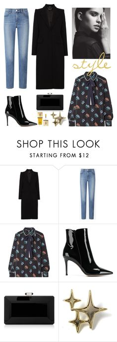 """""""style"""" by sonitsa ❤ liked on Polyvore featuring Alexander McQueen, Uniqlo, Markus Lupfer, Gianvito Rossi, Judith Leiber, Yves Saint Laurent, denim and coat"""