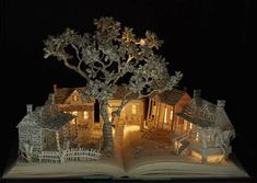 Enchanting Book Sculptures Inspired by Fairy Tales  Su Blackwell an English artist imagines these poetic and meticulous book sculptures inspired by folkloric books and fairy tales which enchant our imagination and wake our childs soul. She explains : I began to make a series of sculptures cutting-out images from old books to create three-dimensional dioramas and displaying them inside wooden boxes. Her artworks are so fragile that they seem almost ephemeral.  Details are impressive ; the…