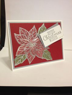 Stampin Up Joyful Christmas stamp set Silver embossed then watercolored back side of flower and leaves