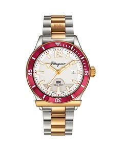 1898 Bracelet Watch, Steel/Golden/Red, Women's - Salvatore Ferragamo