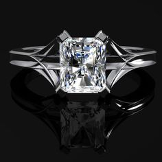 Diamond Engagement Ring Radiant Cut 1 Carat by jetflair on Etsy