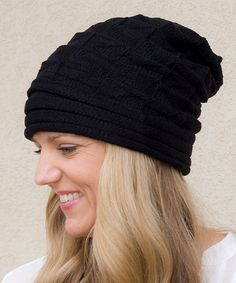 Look what I found on #zulily! Black Ribbed Slouchy Beanie - Women by Princess Linens Mommy & Me #zulilyfinds