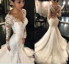 d8aae20dc11 New Mermaid Wedding Dresses 2016 Sexy Long Sleeves Lace Appliques Beaded  Sheer Back Plus Size Court Train Custom Wedding Dress Bridal Gowns