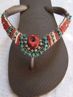bohe Bling Flip Flops, Flip Flop Sandals, Emo Dresses, Party Dresses, Fashion Dresses, Tulle Poms, Tulle Tutu, Flip Flop Craft, Seed Bead Art