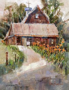 This painting is a good morning's work at a recent Plein Air festival in Jericho, Vermont.  The brilliant Tiger Lilies decorate many Vermont dooryards at this time of the year. As I painted the flowers reaching high toward the summer sun, I remembered that the very same orange would soon be seen in September trees.