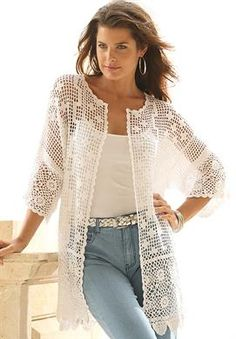 Plus Size Scalloped Border Crochet Cardigan cream size L