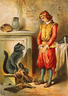 Puss in Boots. by Carl Offterdinger (1829 -1889) a German painter and illustrator