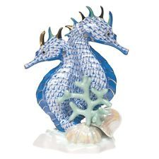 HEREND, LARGE SEAHORSE PAIR PORCELAIN FIGURINE, BLUE FISHNET, RETAIL $1480  ebay $750